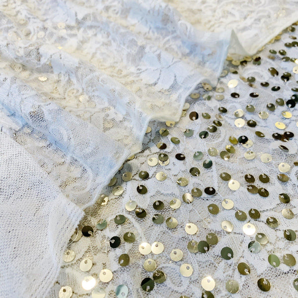 Tie-Dye Lace with Hanging Gold Sequin - 1/2 Yard - Measure: a fabric parlor
