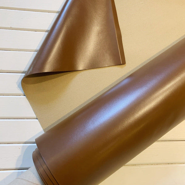Cognac Solid Vegan Glazed Leather - 1/2 Yard - Measure: a fabric parlor