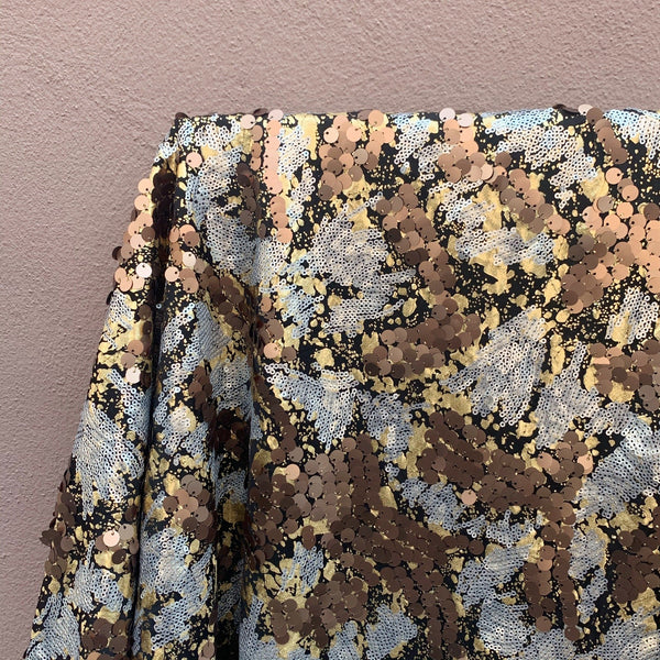 Gold Splatter Tricot with Wavy Bronze & Silver Sequins on Stretch Backing - 1/2 Yard