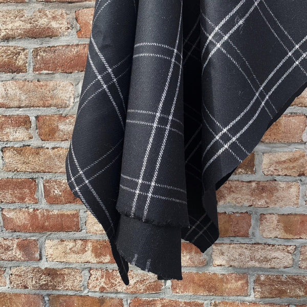 Black and Pearl Tartan Plaid Flannelled Wool Twill - 1/2 Yard
