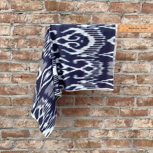 Blue and White Ikat Printed Cotton Twill - 1/2 Yard