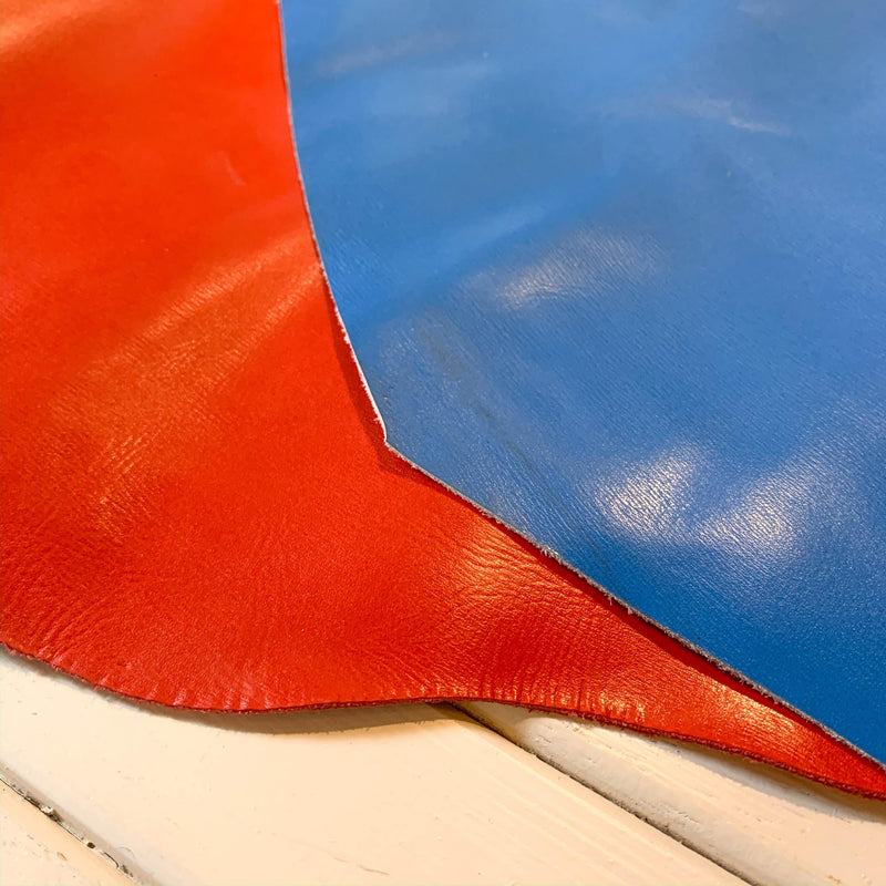 Glazed Smooth Grain Cowhide - Tomato Red - 1 SQFT - Measure: a fabric parlor