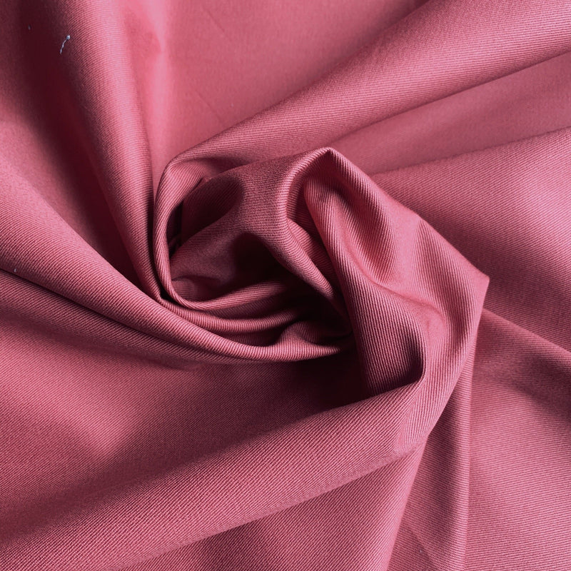 Rose colored organic cotton twill swirled to show volume