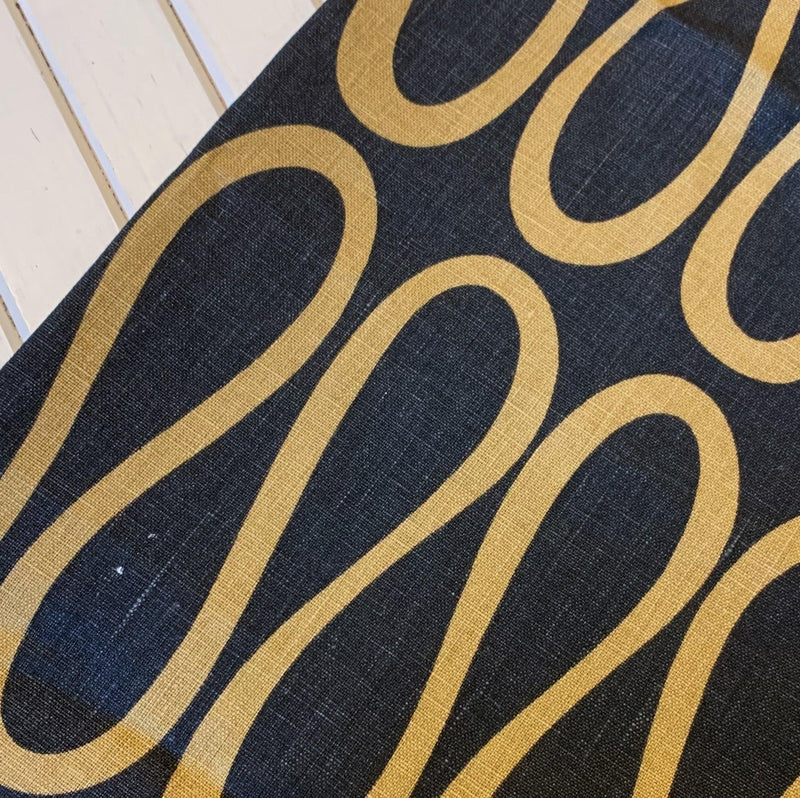 Black/Mustard Infinity Loop Linen - Remnant - 2.13 Yards