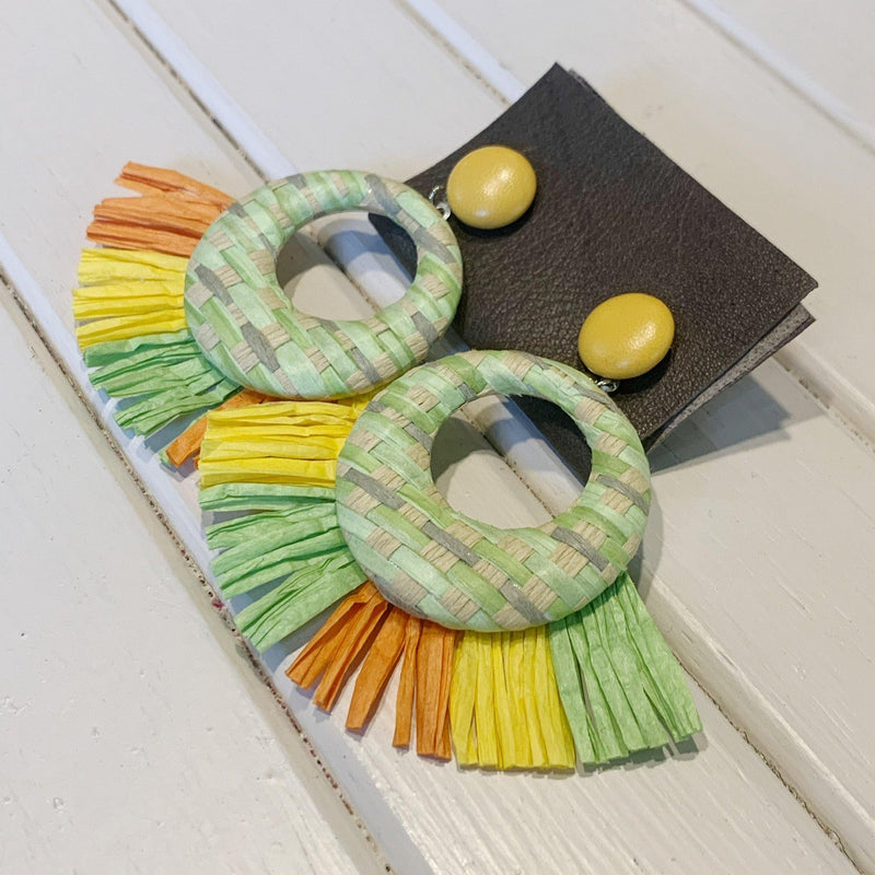 Raffia Hoops - 1 pair - Measure: a fabric parlor