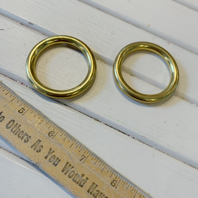 "Solid O-Rings - Shiny Gold - 1.5"" - 1 PC"