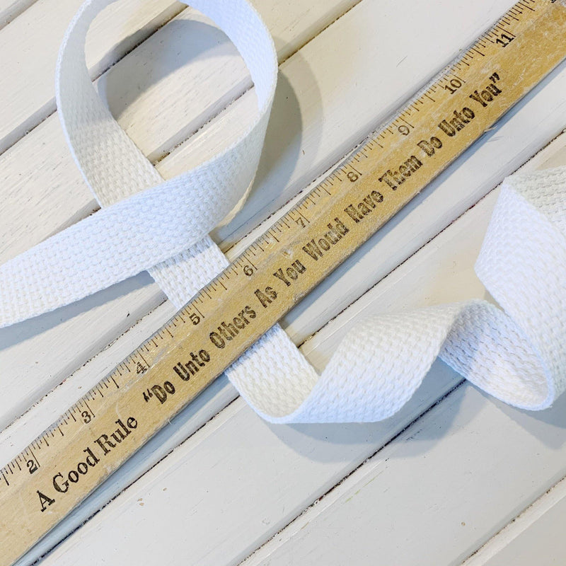 "Cotton Webbing - 1"" - White - 1 yard"