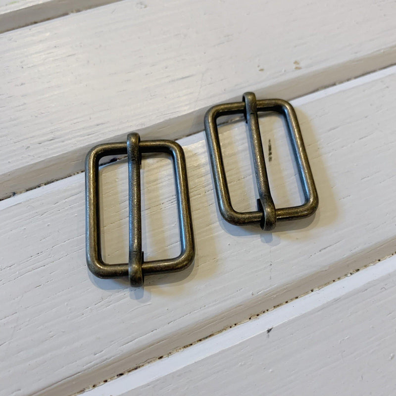 "Adjustable Slide Buckles - 1"" - Antique Brass - 2 Buckles"