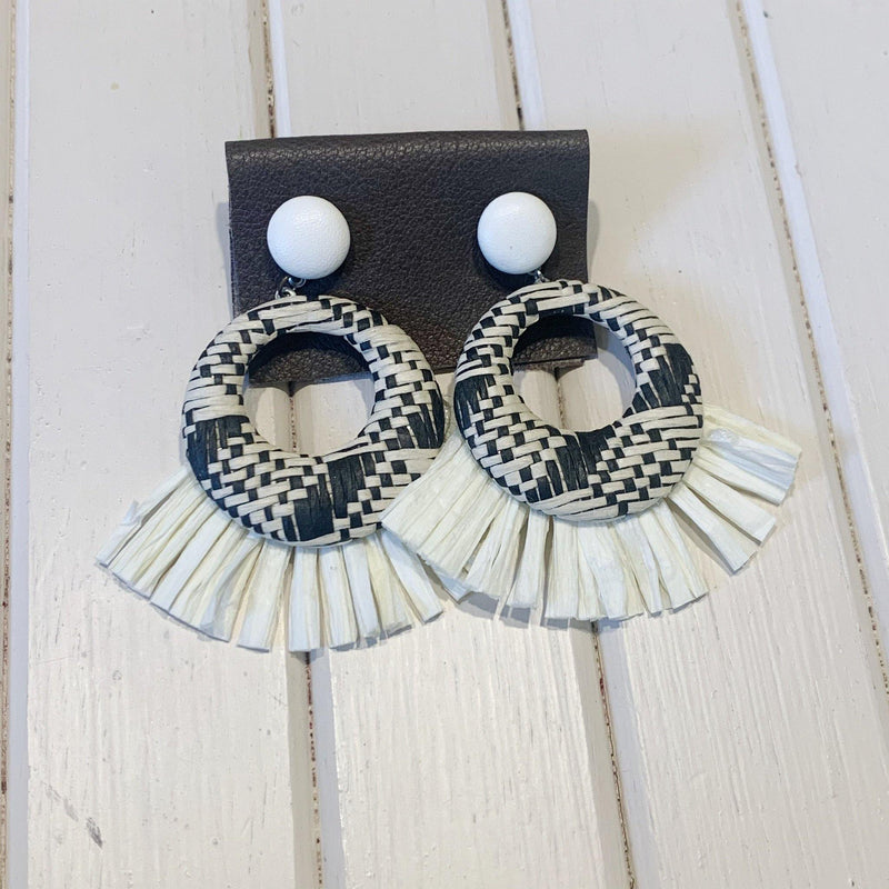 Rafia Threaded Hoops - 1 pair - Measure: a fabric parlor