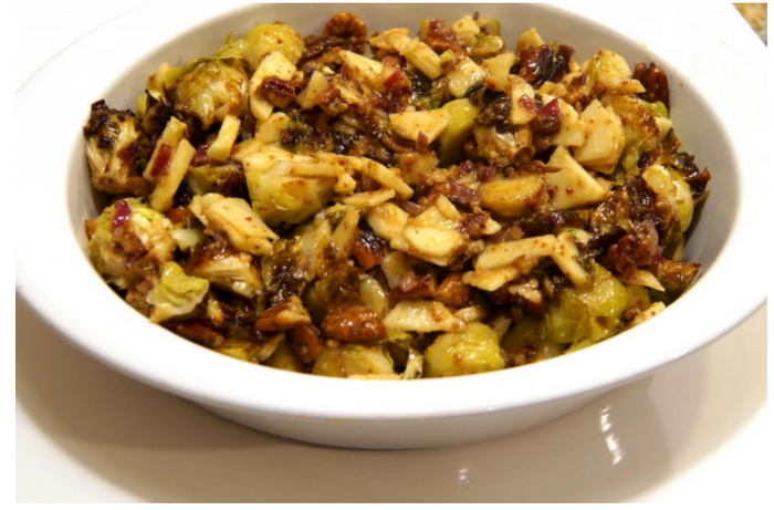 Roasted Brussels Sprouts & Apple Salad with Walnuts