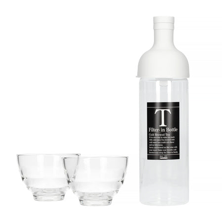 Hario Filter-In Bottle Pale Grey + Yunomi Tea Glass Set - TSUJIRI Canada