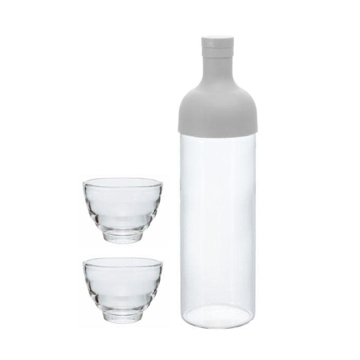 HARIO TEA FILTER BOTTLE PEARL GREY WITH YUNOMI GLASSES (SET OF 2) - TSUJIRI Canada