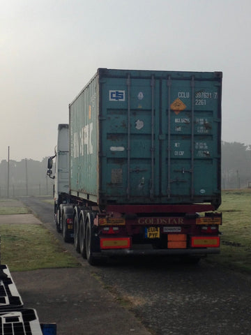 Firework container delivery on a lorry