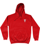 HEX AWDis College Hoodie Embroidered with White Dragon Eye Logo Fire Red