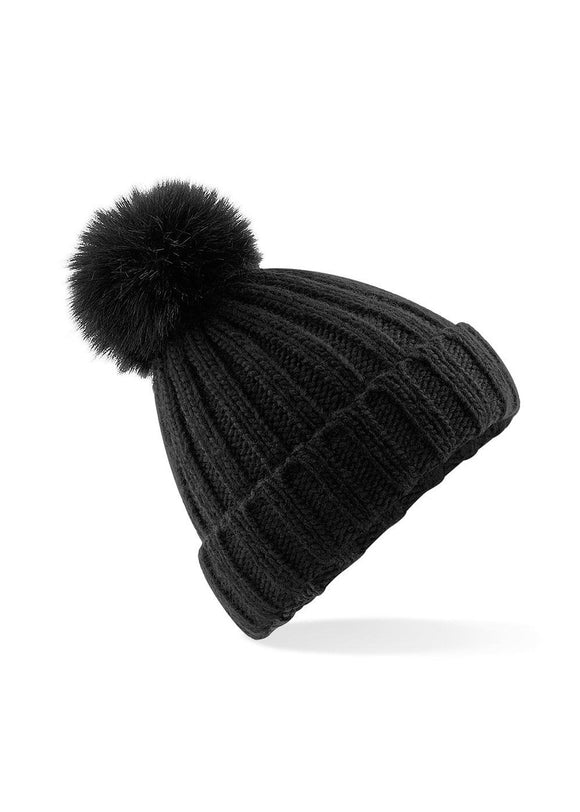 HEX Verbier Faux Fur Pop Pom Beanie Black
