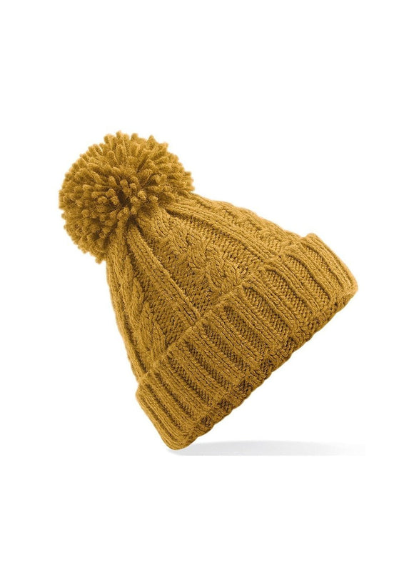 HEX Cable Knit Melange Beanie Mustard colour