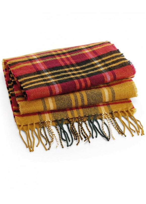 HEX Plaid Check Scarf Mustard colour
