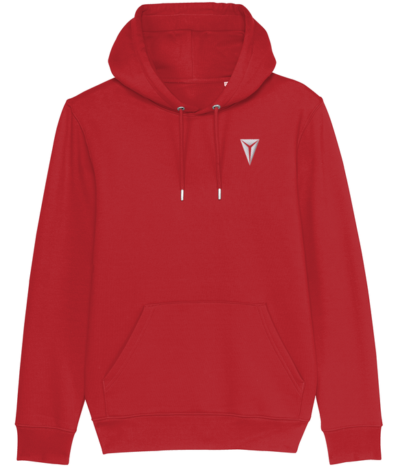 HEX Cruiser Premium Hoodie Embroidered with White Dragon Eye Logo Bright Red