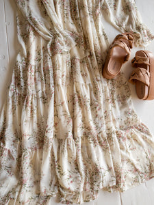 Dainty Floral Peasant Maxi Dress