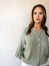 Load image into Gallery viewer, Light Olive Gauze Blouse