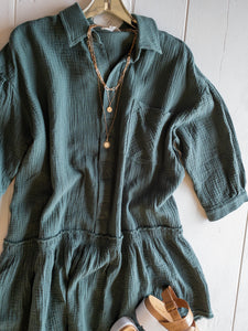 Faded Teal Gauze Dress
