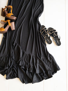 Black Ruffle Ankle Length Dress
