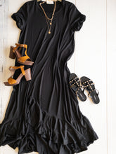 Load image into Gallery viewer, Black Ruffle Ankle Length Dress