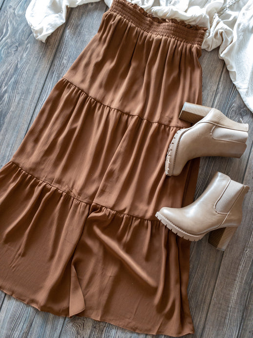 Golden Rust Tiered Ankle Skirt