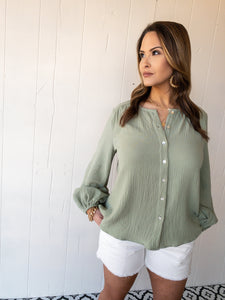 Light Olive Gauze Blouse