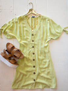 Lime Linen Button Down Dress