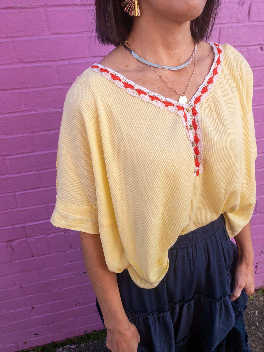 Yellow Embroidery Neck Top