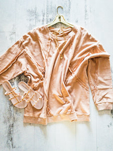 Faded Apricot Texture Sweatshirt