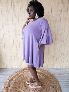 Plus Lila Grape Linen Dress