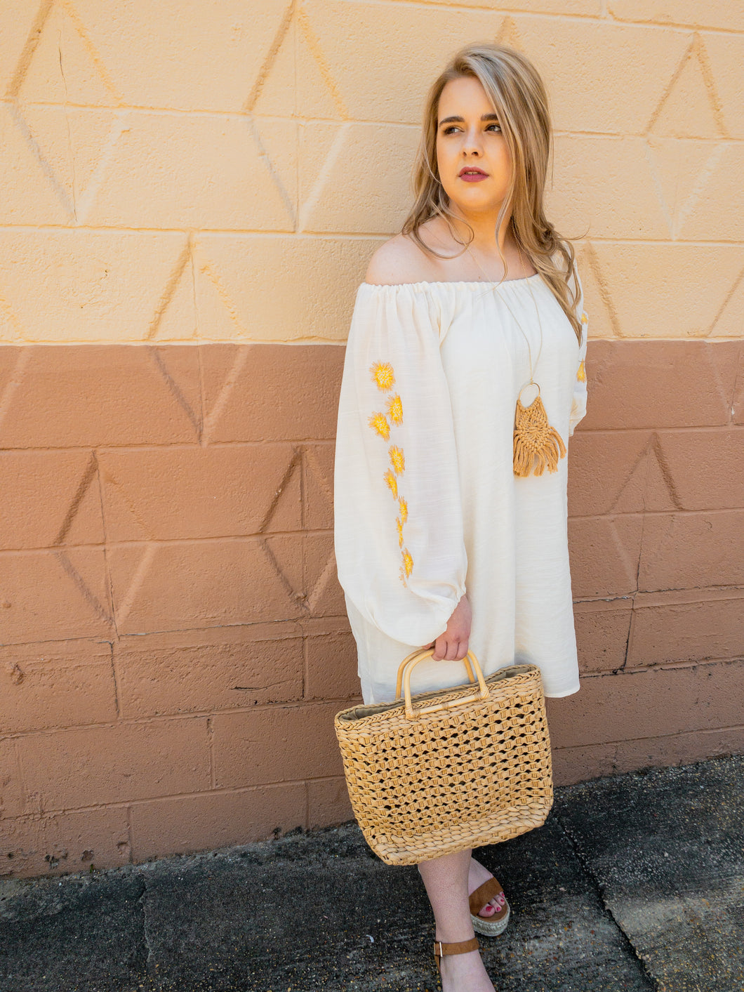 Reagan Off the Shoulder Embroidery Sleeve Dress