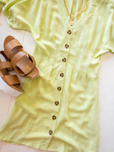 Load image into Gallery viewer, Lime Linen Button Down Dress