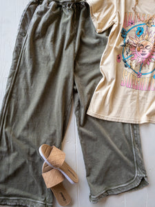 Olive Round Hem Wide Leg Sweatpants