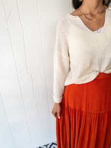 Natural Patch Sweater Top