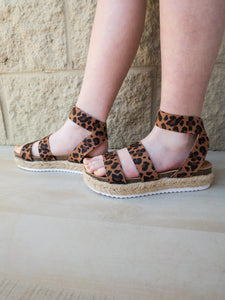Girls Cycler Leopard Espadrille Sandals