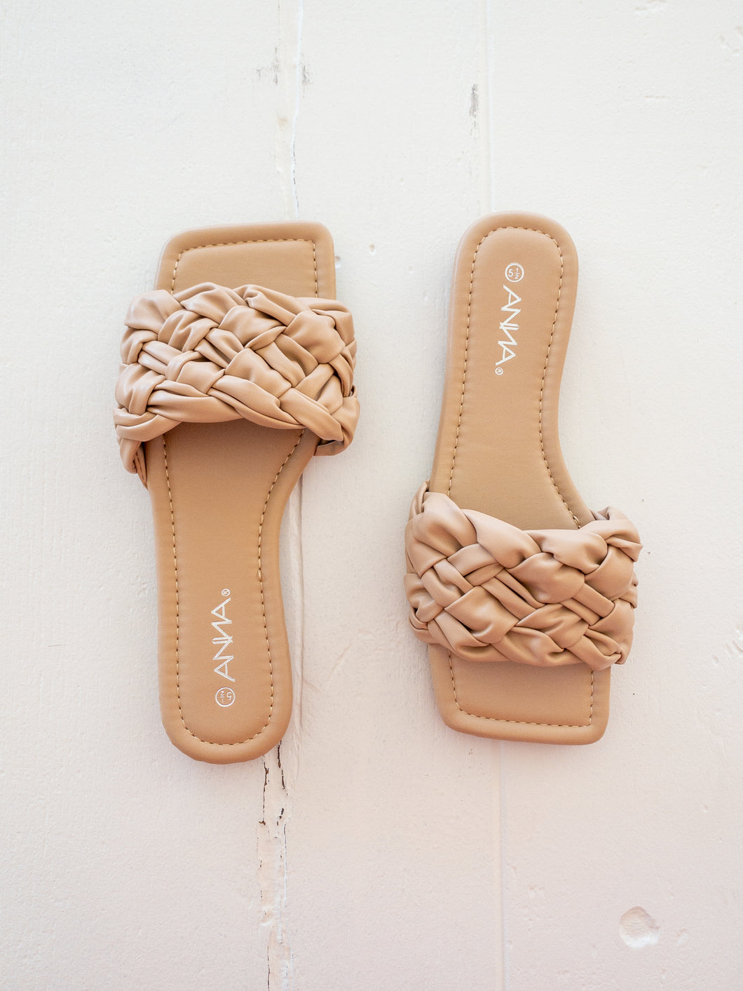 Nude Square Toe Slide Sandals