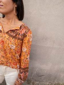 Orange Floral Peasant Top
