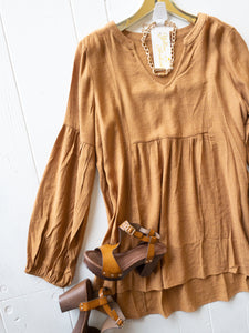 Toffee Peasant Blouse
