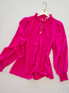 Hot Pink Ruffle Neck Blouse