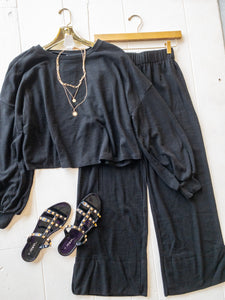 Black Rib Knit Pants Set