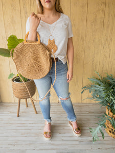 Winnie Wood Handle Straw Crossbody