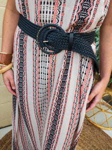 Layered Straw Large Buckle Belts- Belts 6