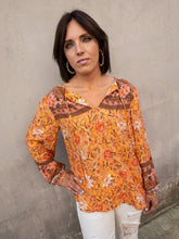 Load image into Gallery viewer, Orange Floral Peasant Top