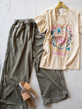 Load image into Gallery viewer, Olive Round Hem Wide Leg Sweatpants