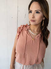 Load image into Gallery viewer, Blush Melon Ruffle Neck Blouse