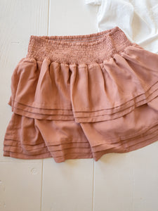 Blush Flare Layered Mini Skirt