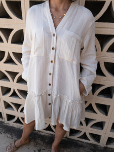 Cream Gauze Safari Dress